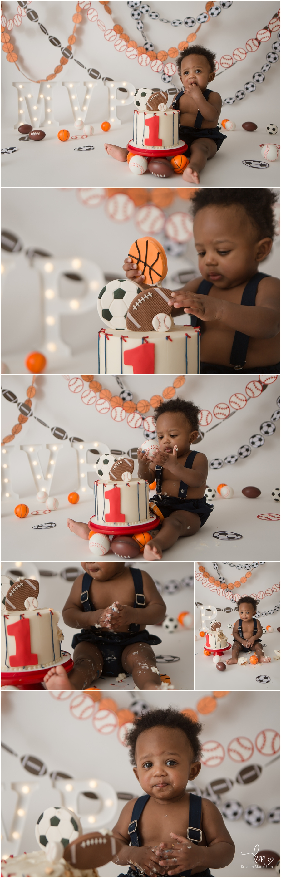 MVP Sports 1st Birthday Cake Smash Photography Session
