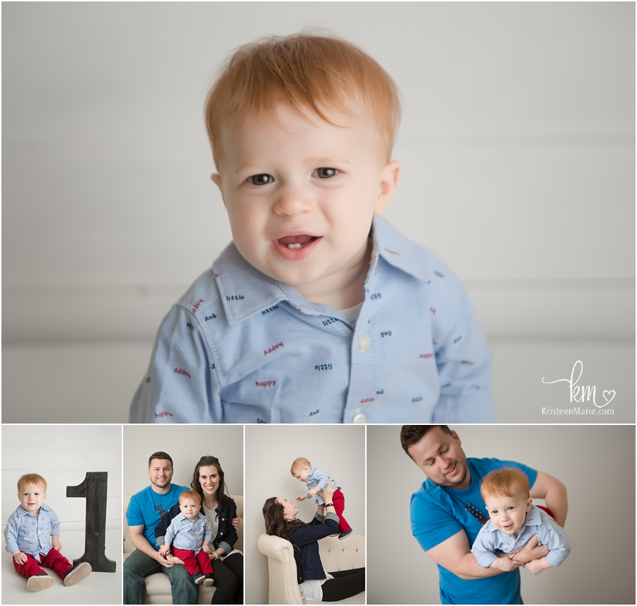 child in photography studio for 1st birthday
