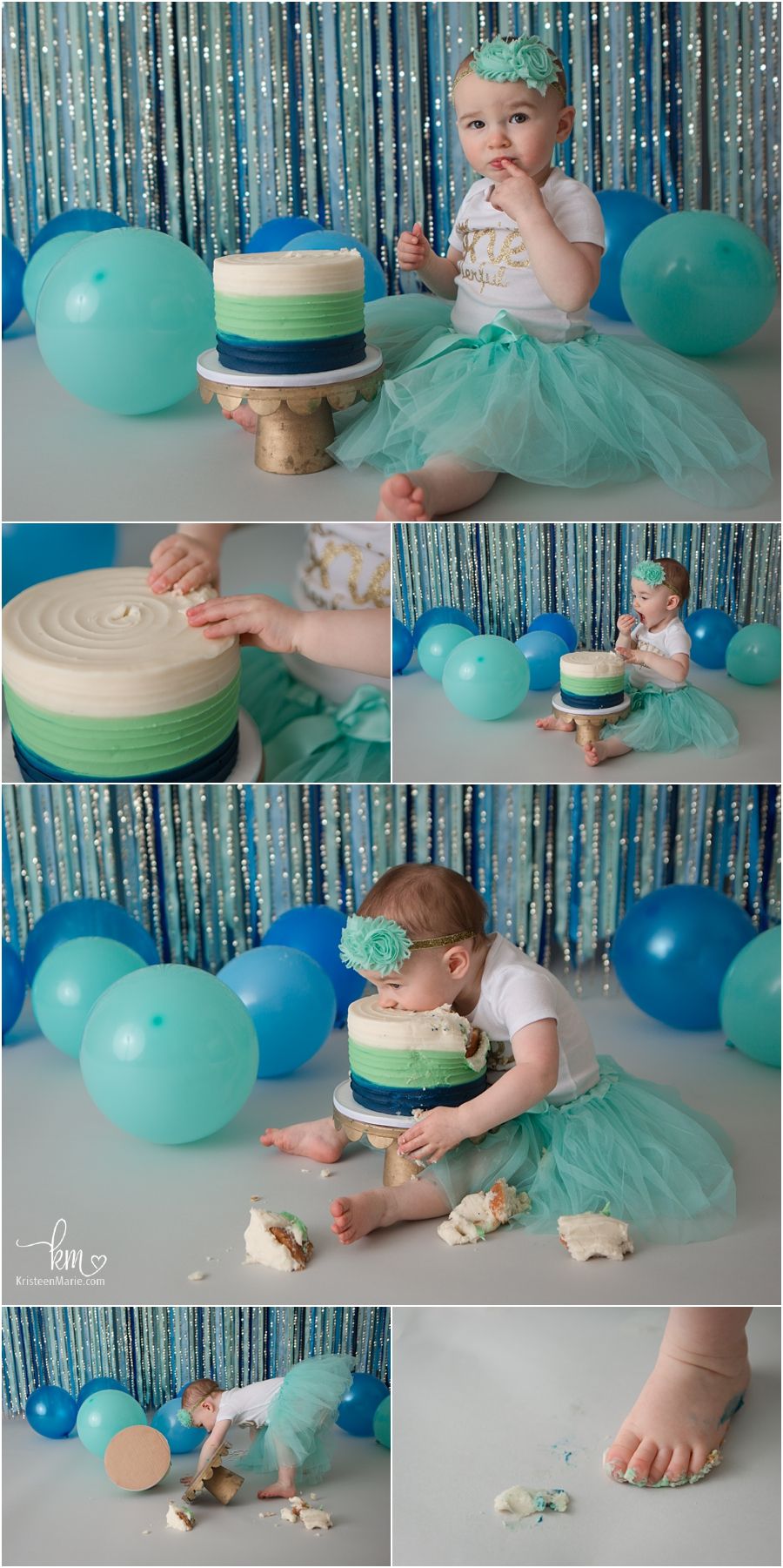 1st birthday cake smash for little girl - blue, teal, and gold