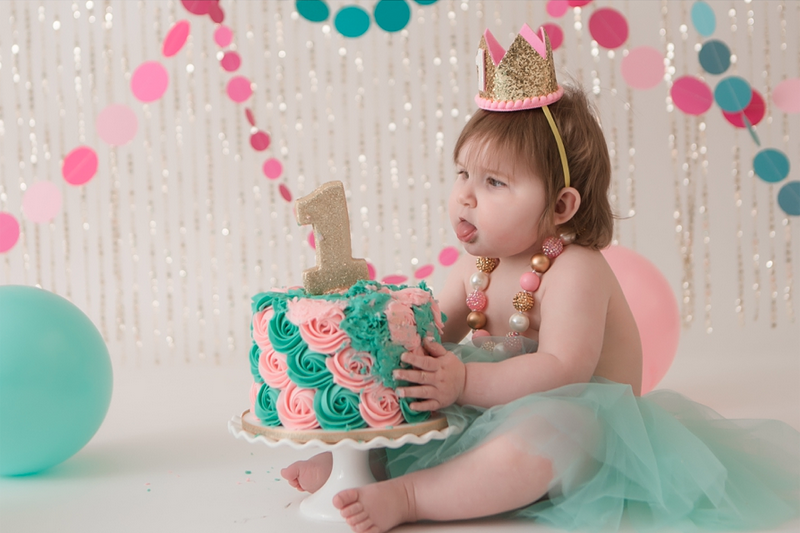 Pink, Teal and Gold 1st Birthday Cake Smash Session