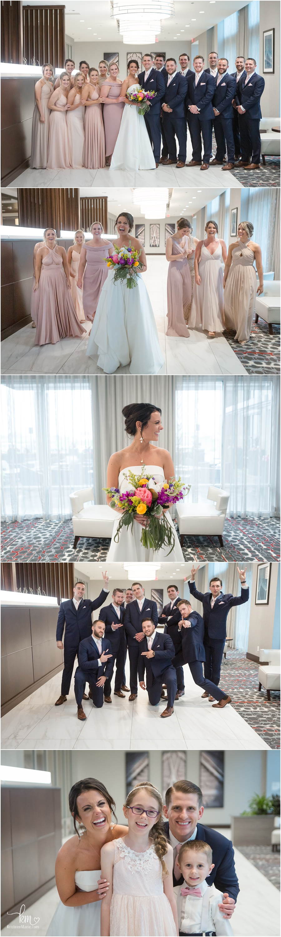 formal wedding pictures in hotel lobby