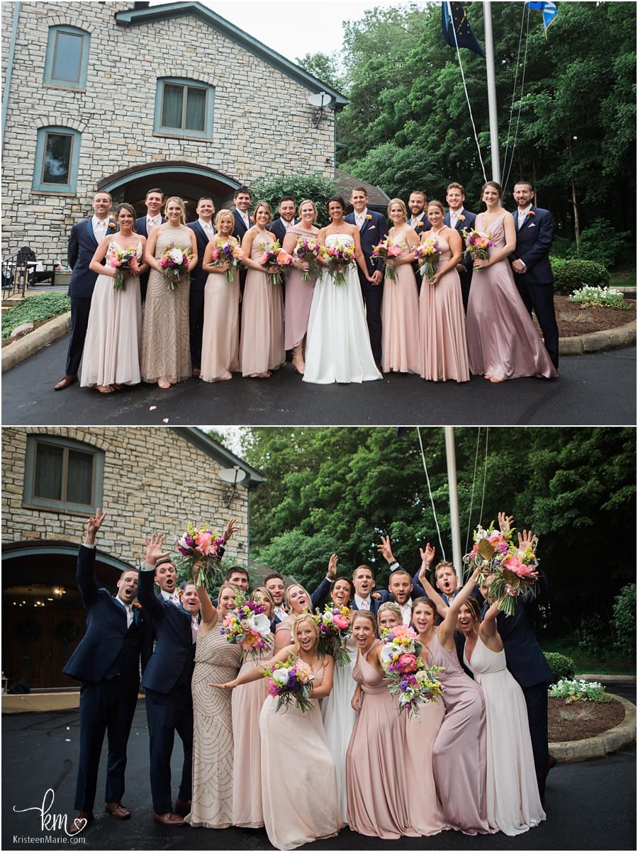 The whole bridal party at Indianapolis Yatch Club