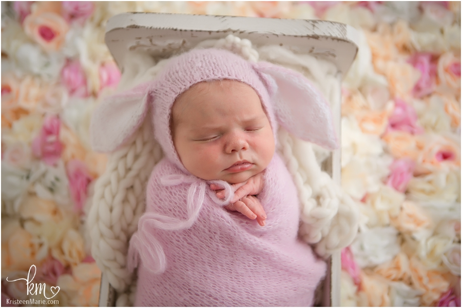 newborn baby girl - Easter Bunny picture