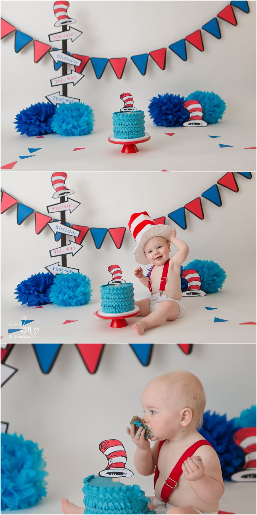 1st birthday Cat in the Hat themed cake smash session - blue and red
