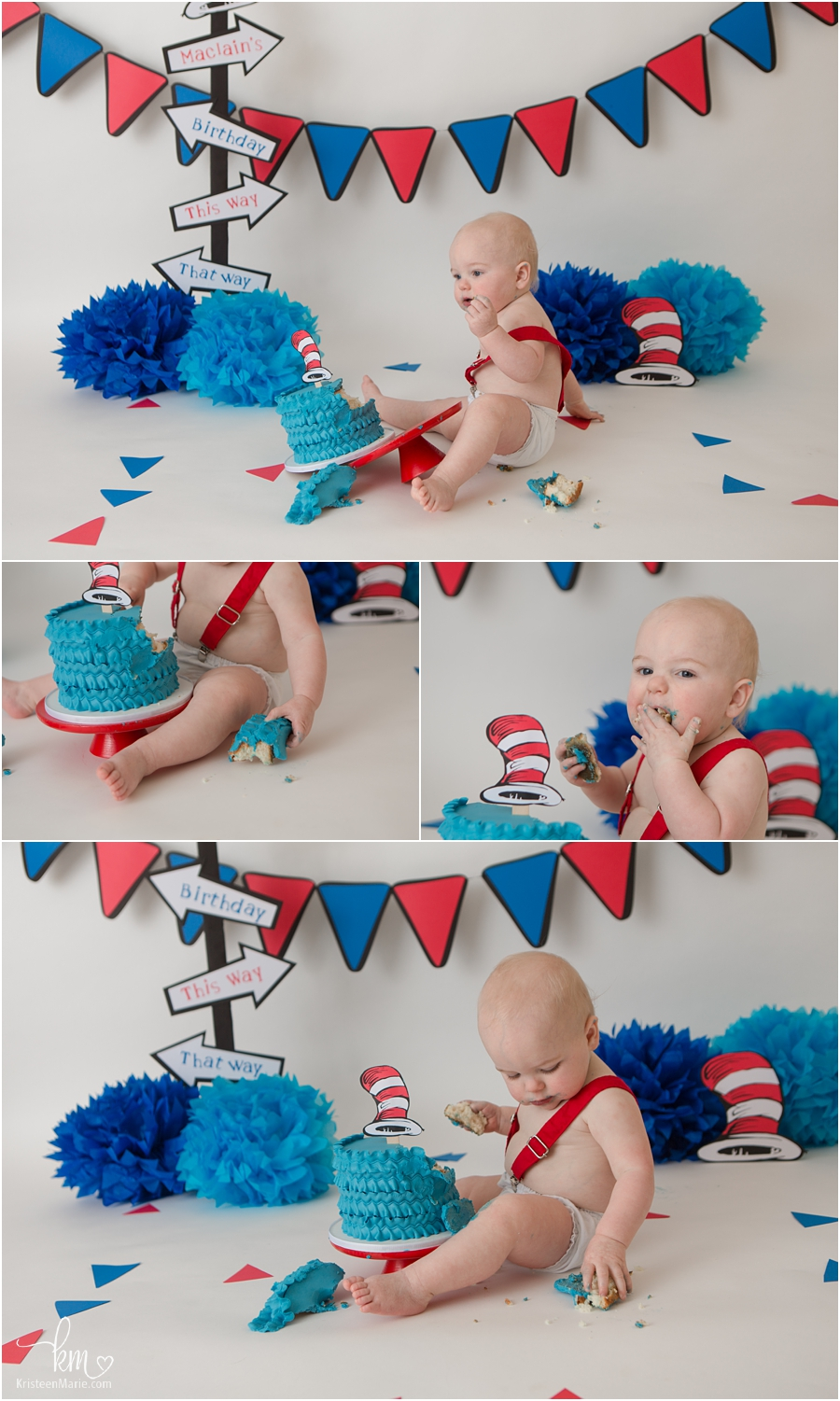 Cat in the hat first birthday cake smash session