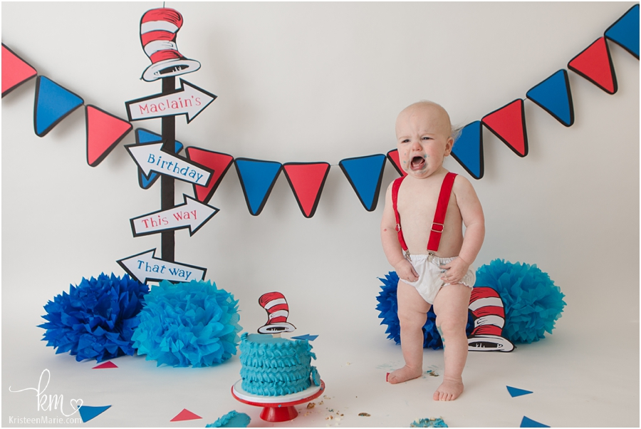 cat in the hat dr seuss cake smash session