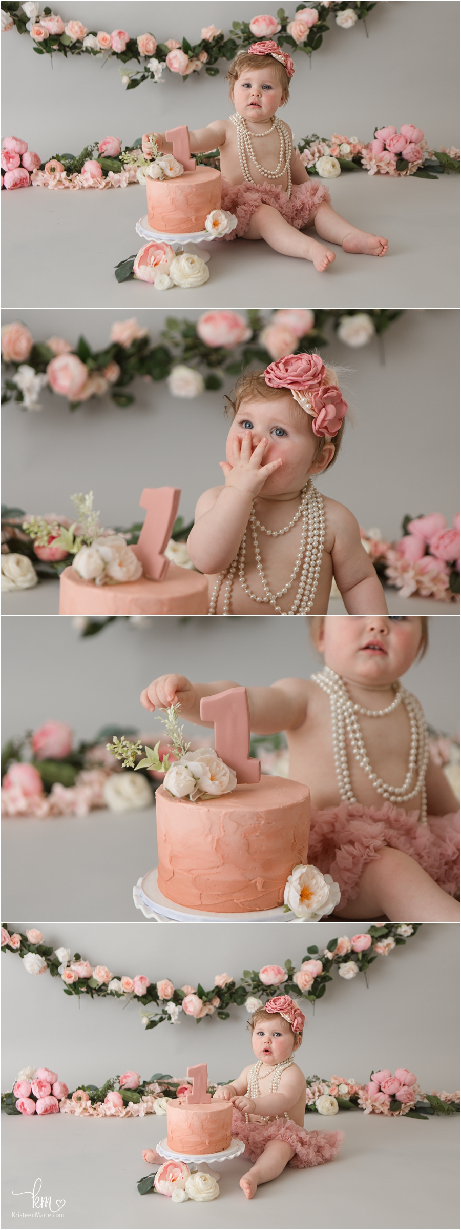 pearls and pink flowers cake smash session