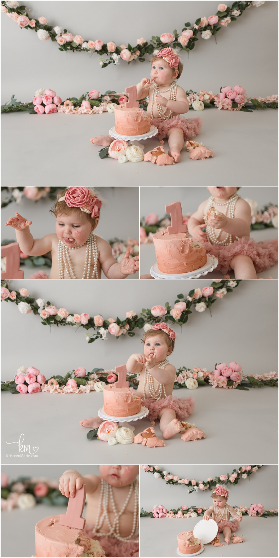 blush and pink 1st birthday cake smash session with birthday girl