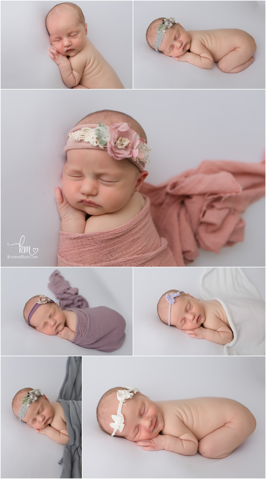 sleeping newborn baby girl in photography studio in Zionsville, IN
