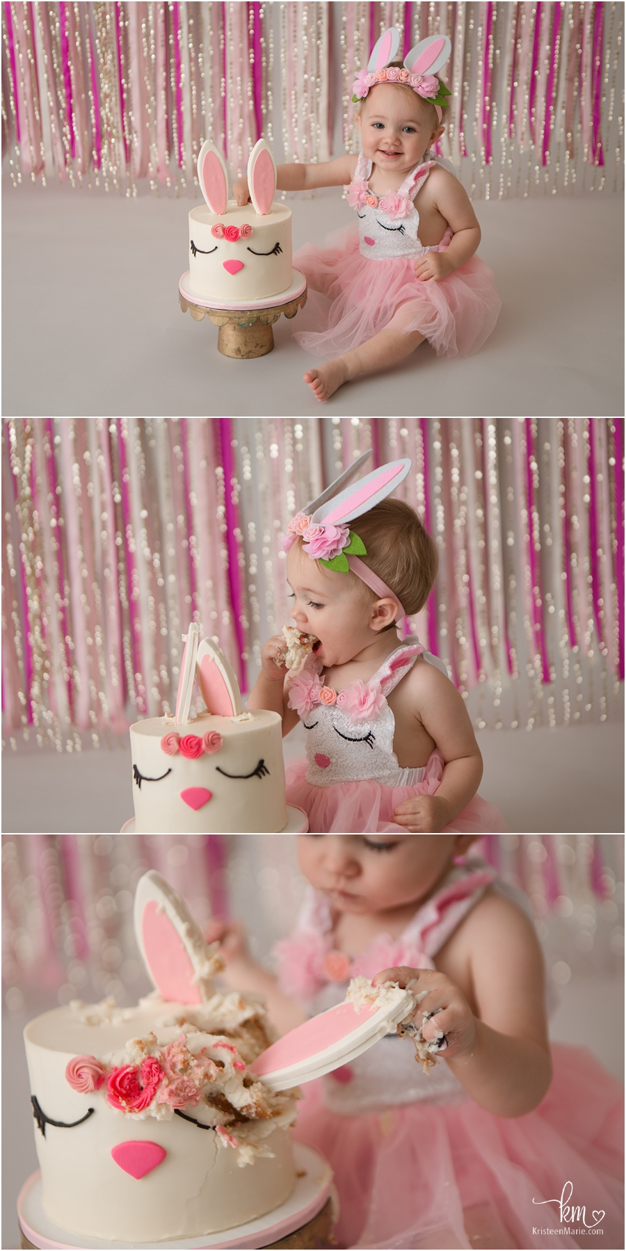 bunny 1st birthday cake smash session