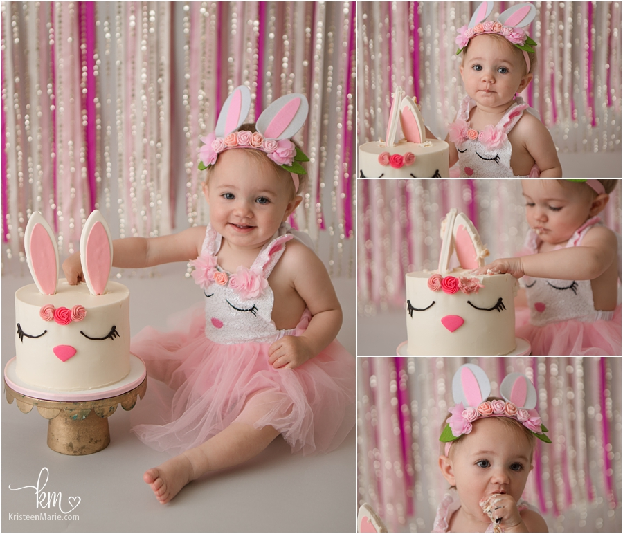 Easter bunny first birthday cake smash session