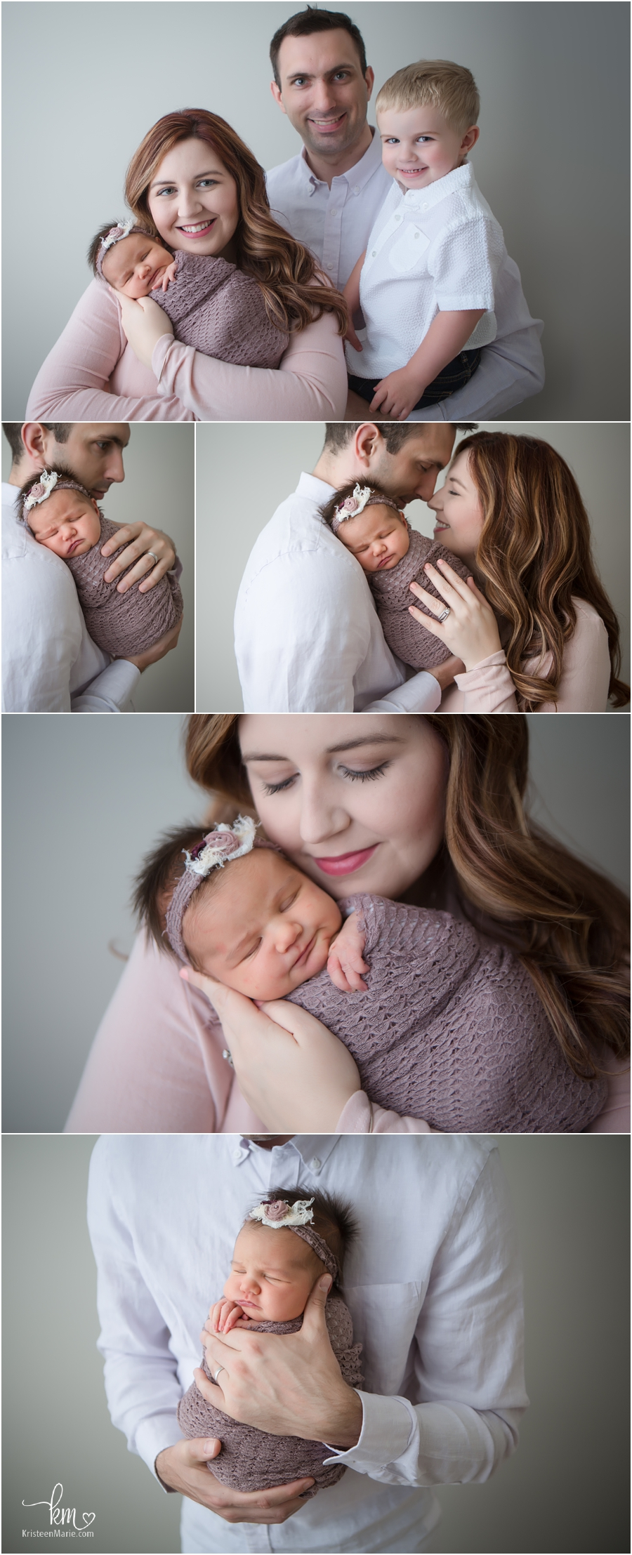 family pictures with newborn baby - pops of purple