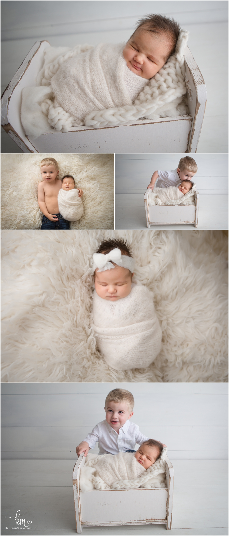 newborn sibling poses in neutral colors
