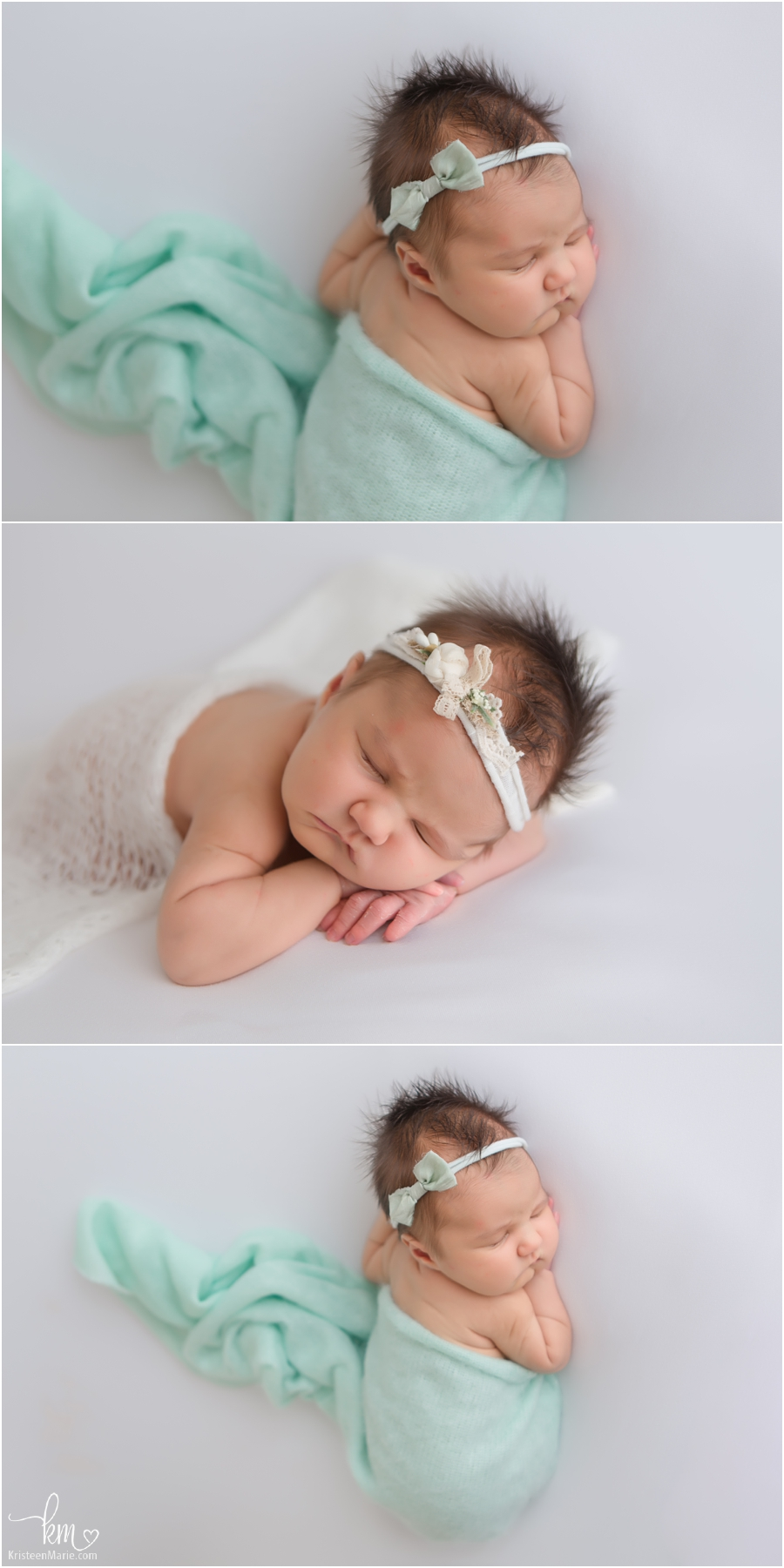 teal and white newborn pictures with baby girl