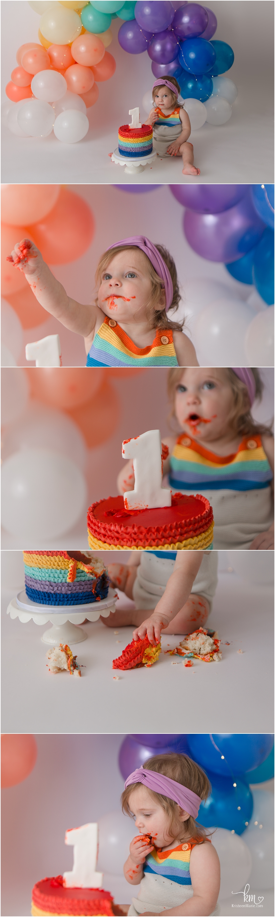 Rainbow themed first birthday cake smash session