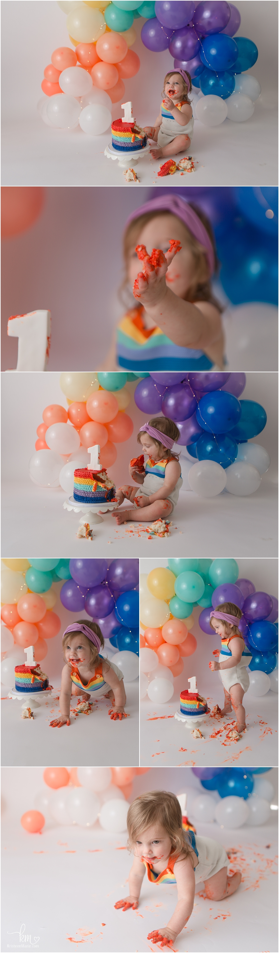 rainbow birthday party theme with balloons