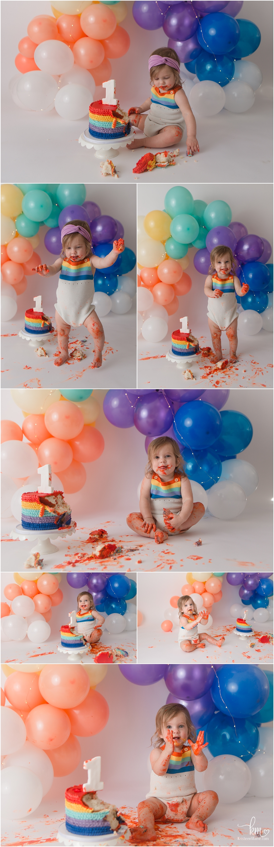 balloon rainbow arch used for 1st birthday cake smash
