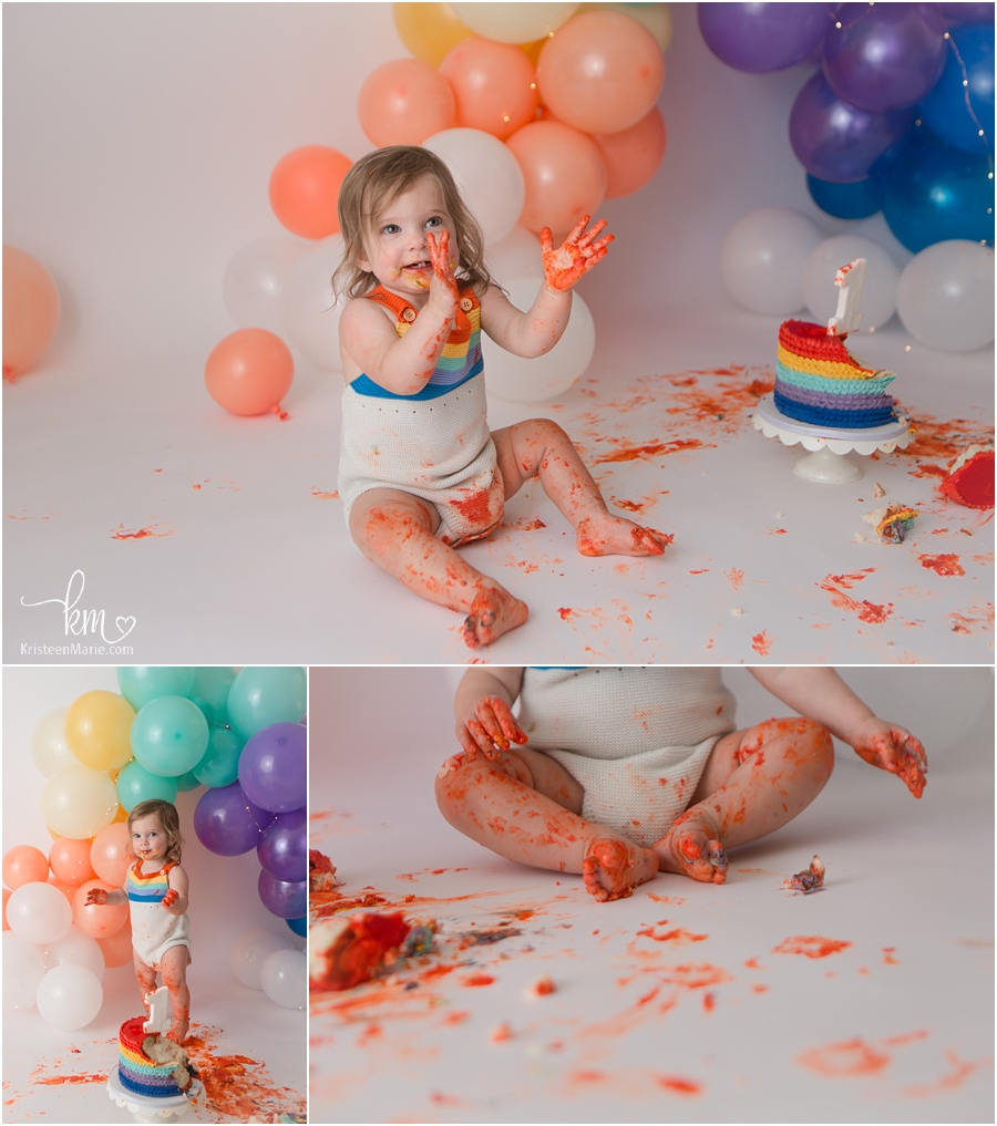 happy and messy birthday girl