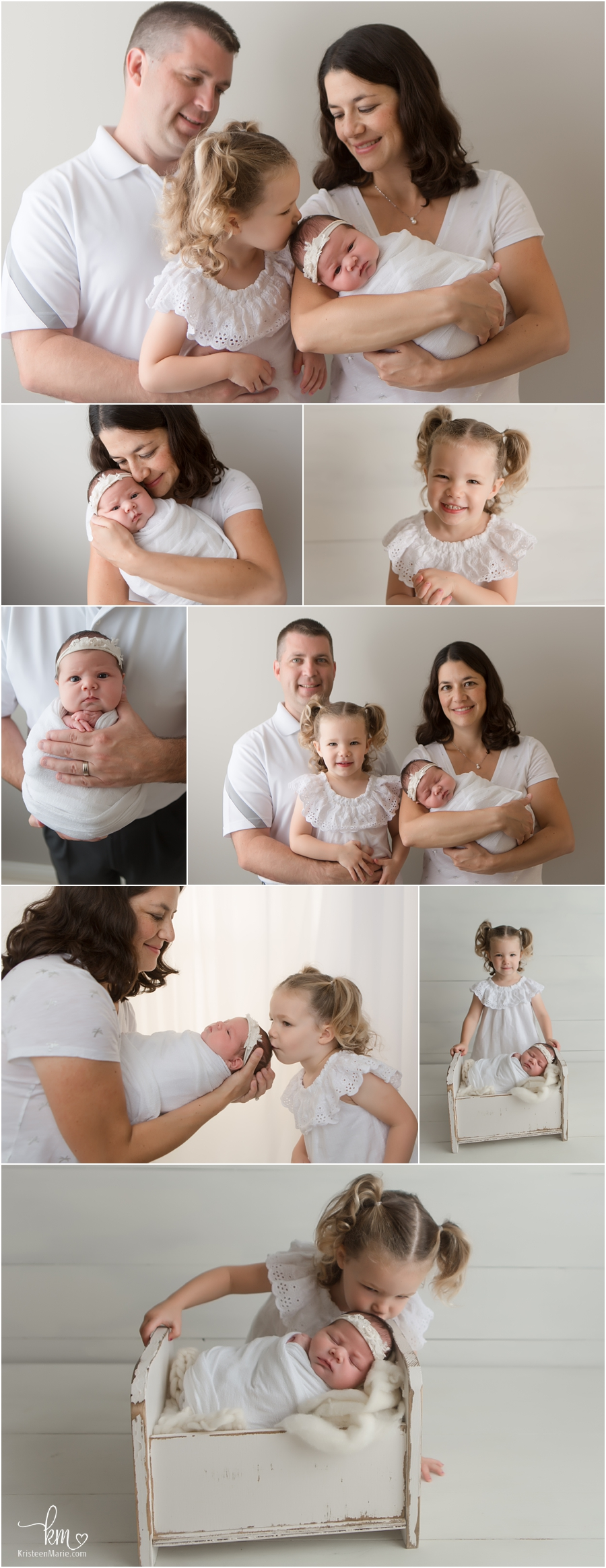 Indianapolis family with newborn baby - neutral colors