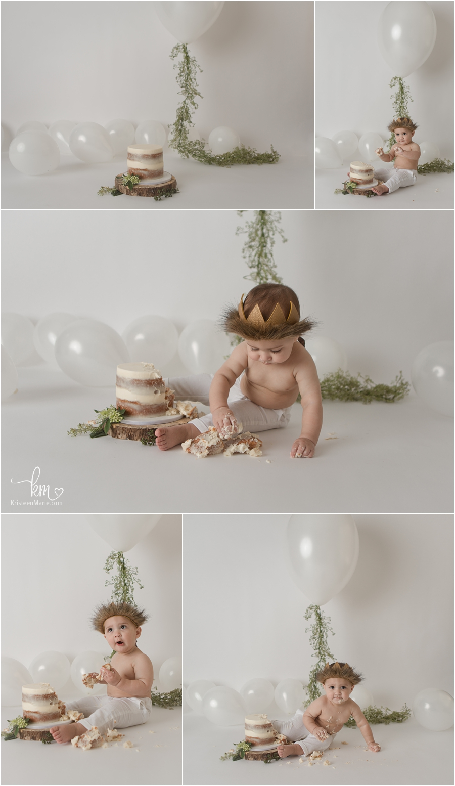 white cake smash session with greenery and balloons