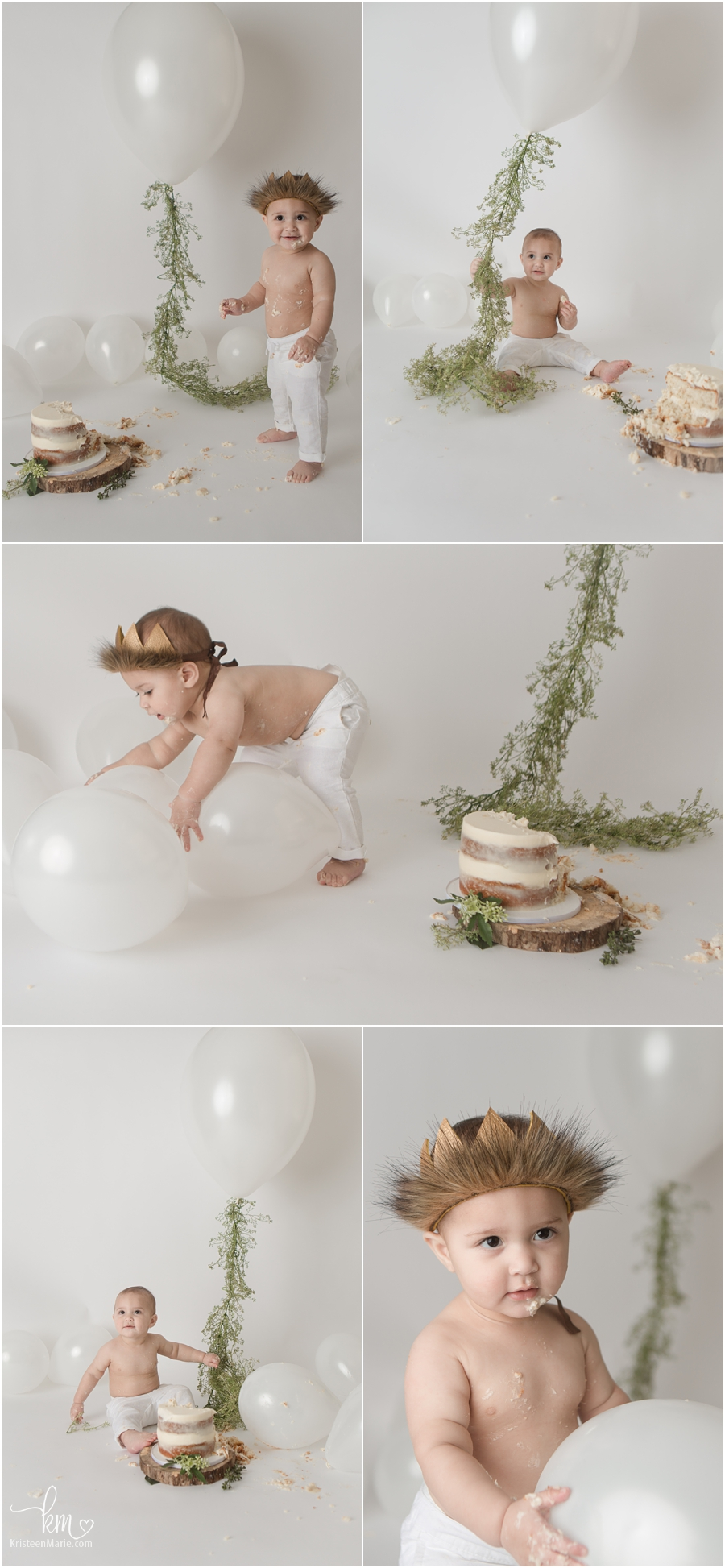 simple wild things cake smash session with white balloons and greenery