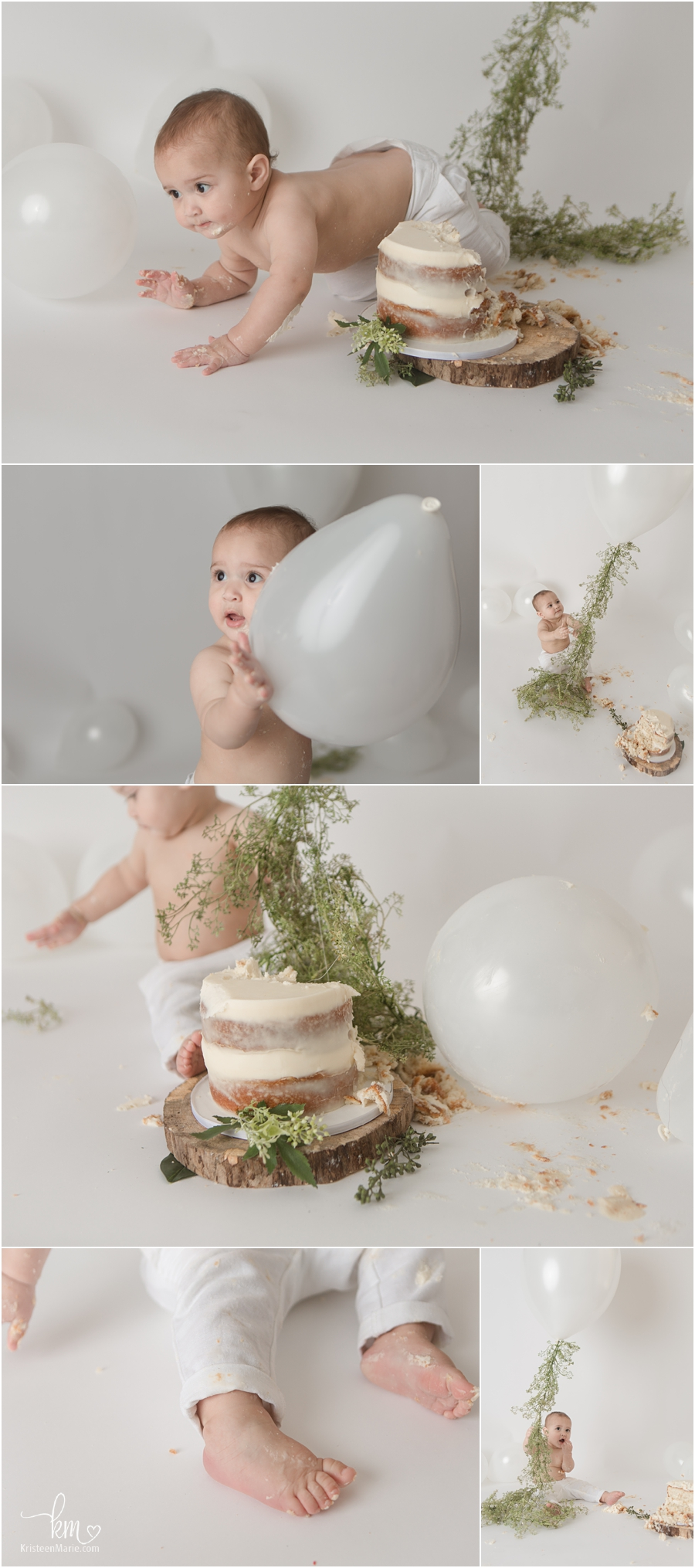 white cake smash session with flower greenery for little 1-year-old boy