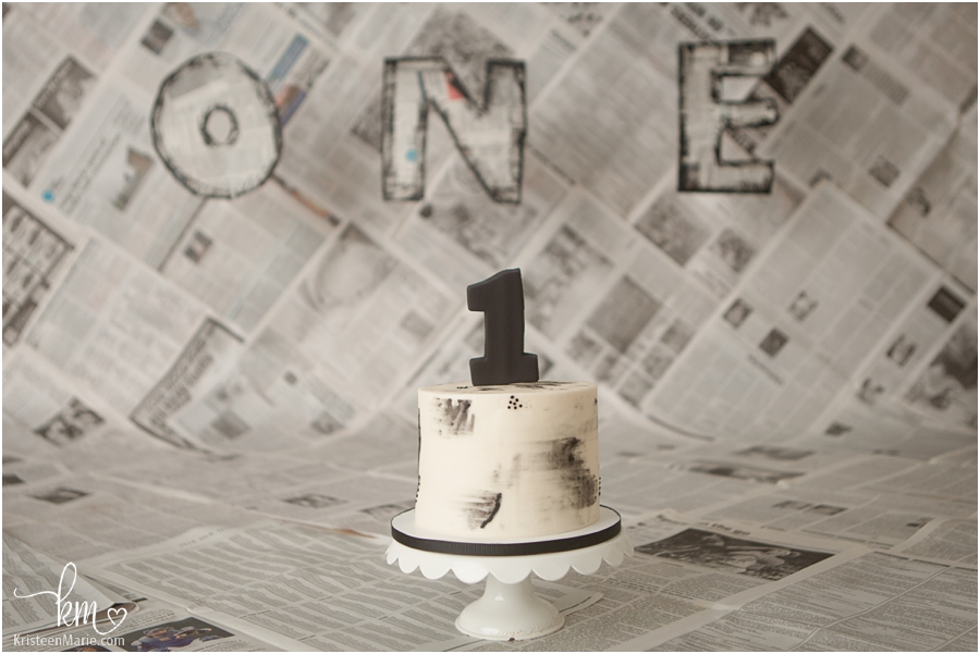 newspaper cake smash setup for 1st birthday