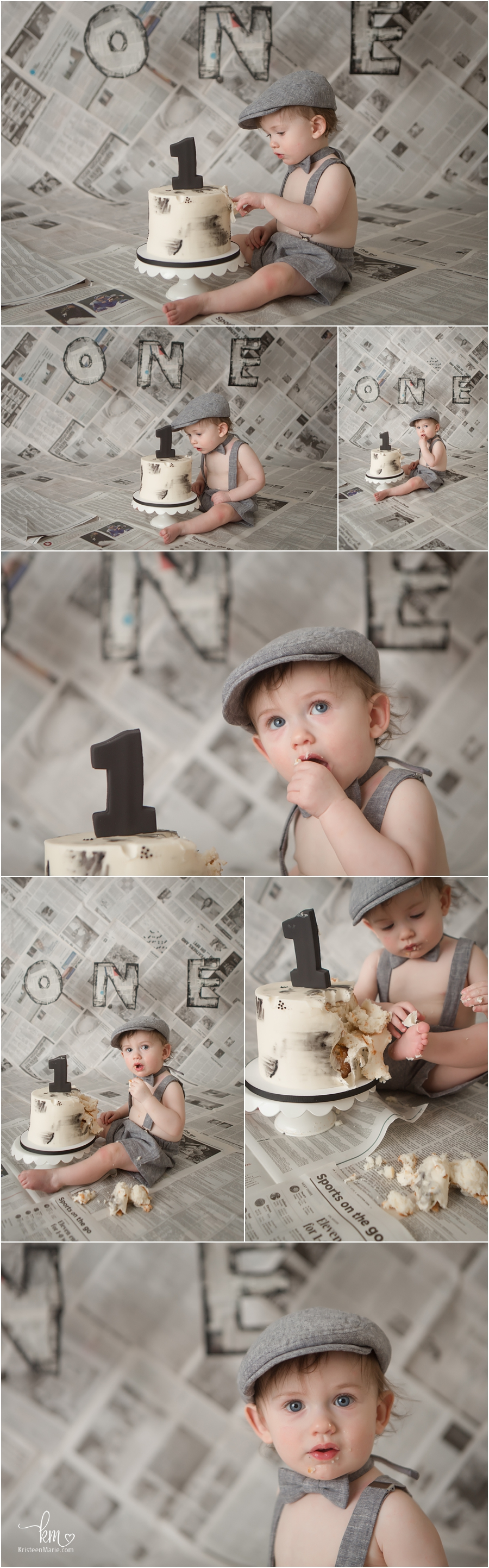 newspaper/newsboy cake smash setup - 1st birthday