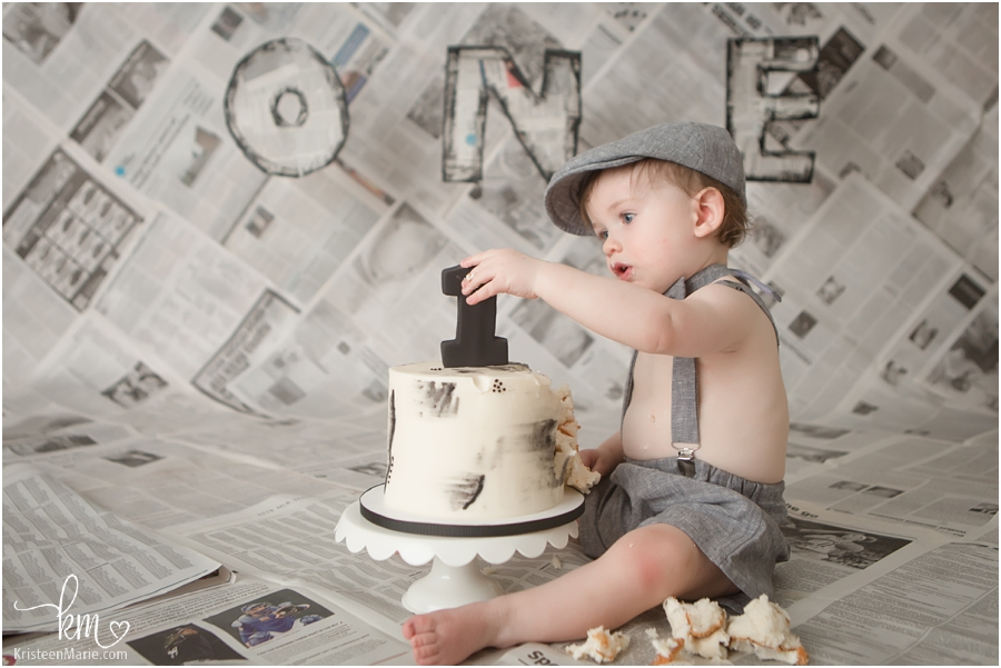 Indianapolis newspaper themed 1st birthday cake smash session