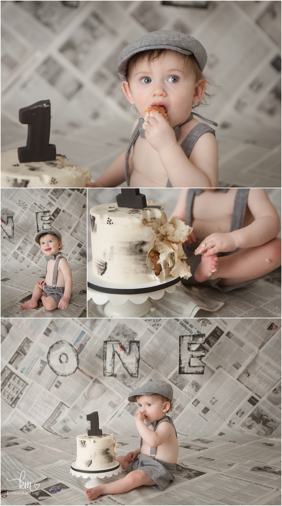 Birthday boy celebrating his 1st birthday with cake smash and newspaper