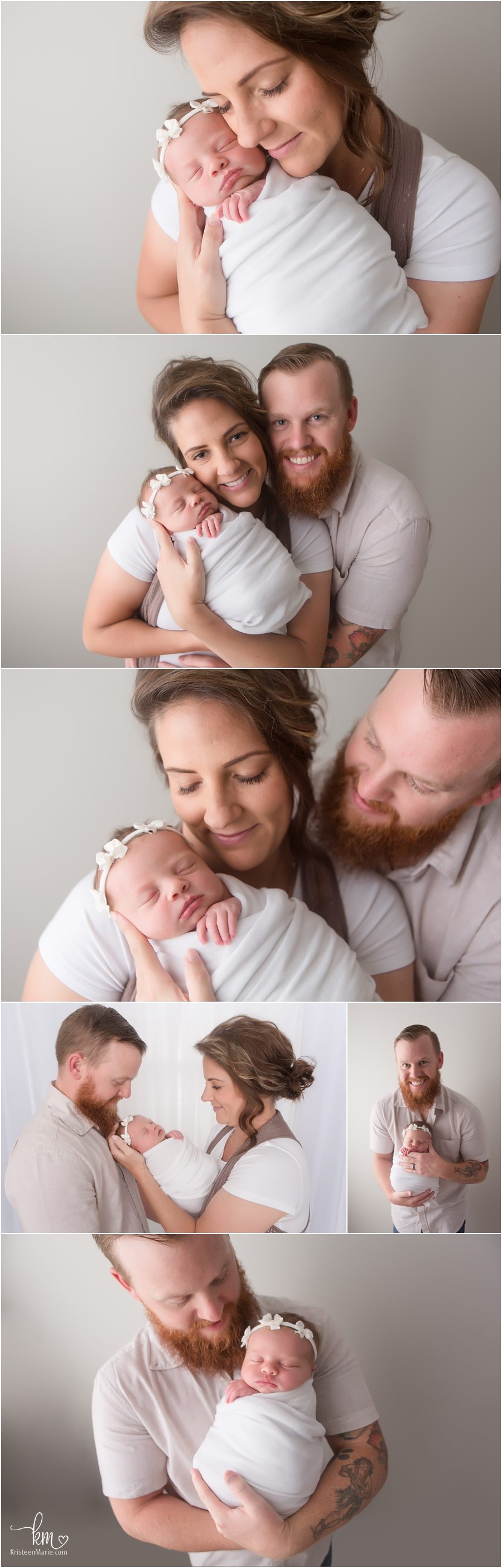 parent poses with newborn baby girl