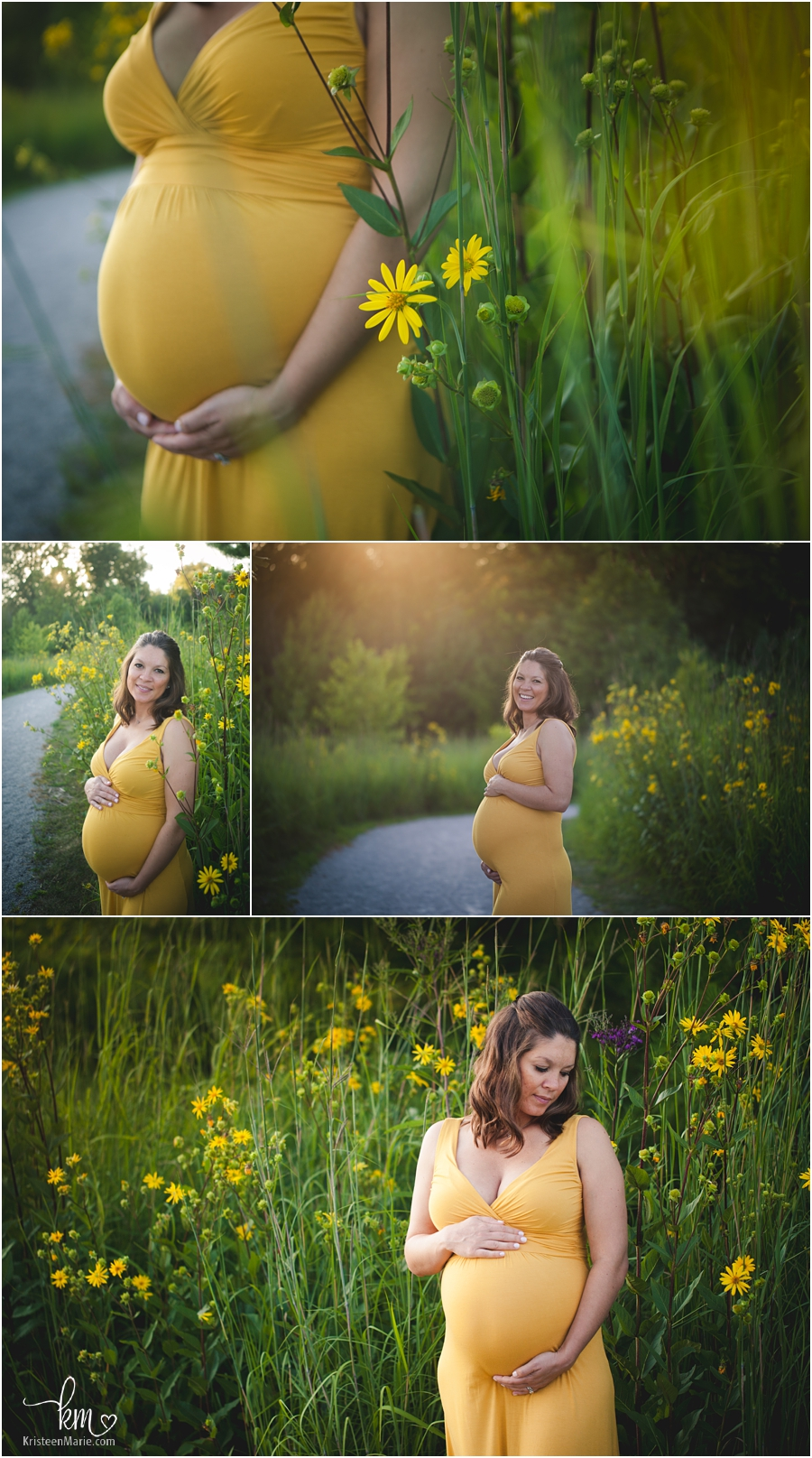 expecting mom in yellow dress with wild flowers - Indianapolis maternity photography