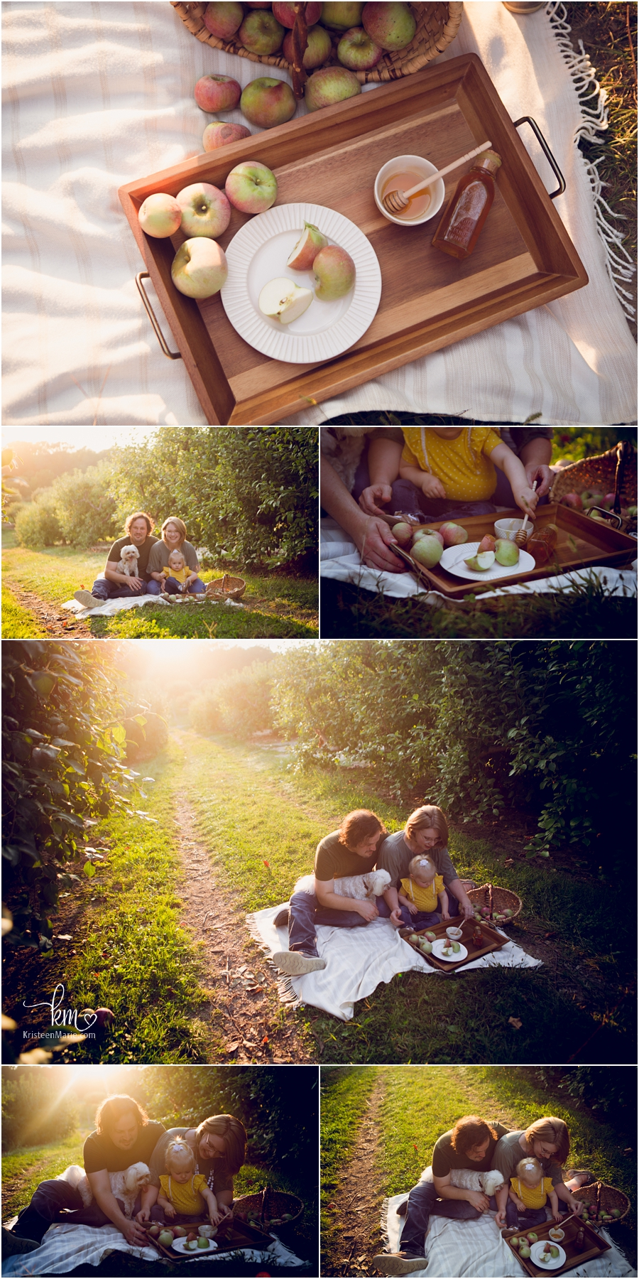 Rosh Hashanah themed family pictures - honey and apples