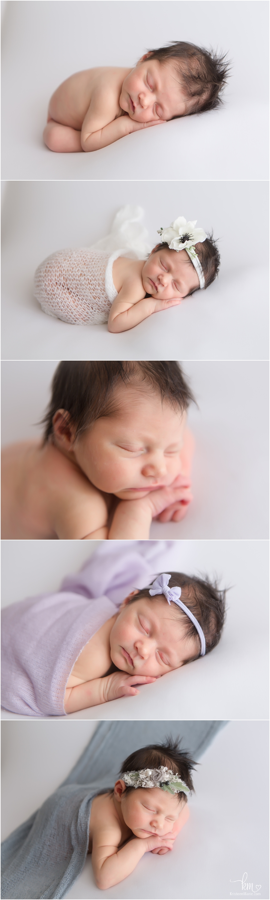 sleeping newborn baby girl with amazing dark hair