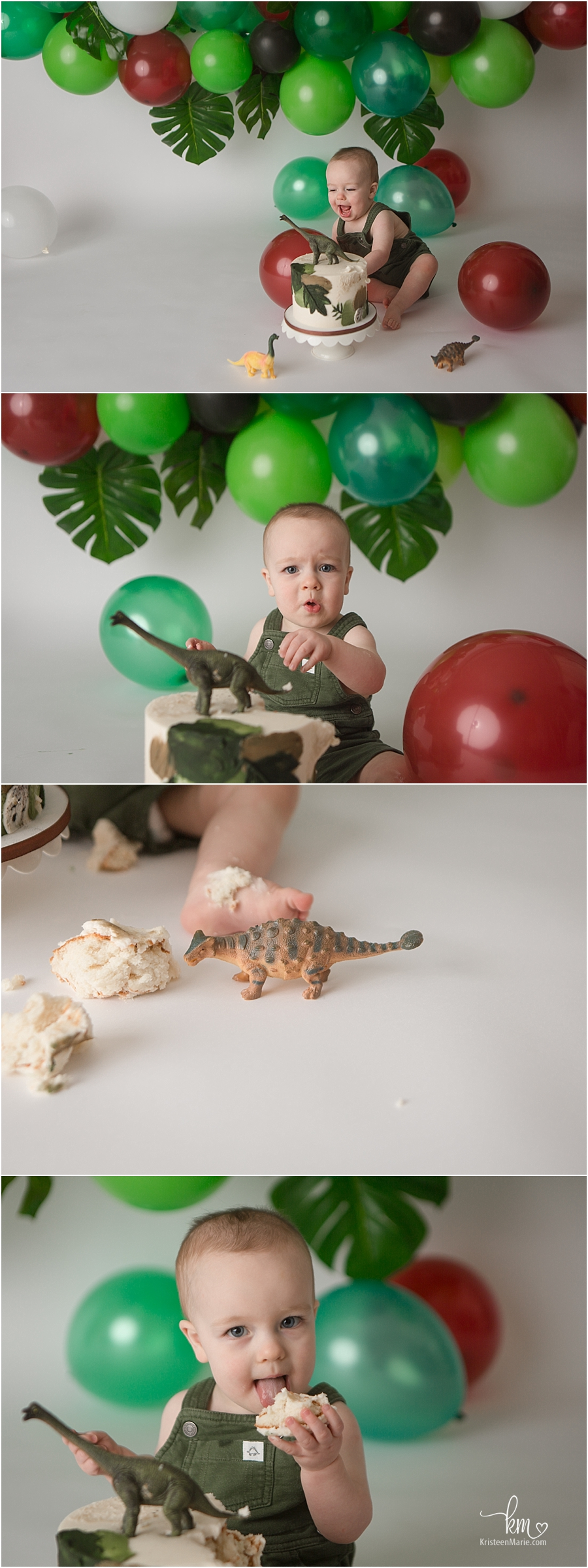 dino first birthday cake smash photography