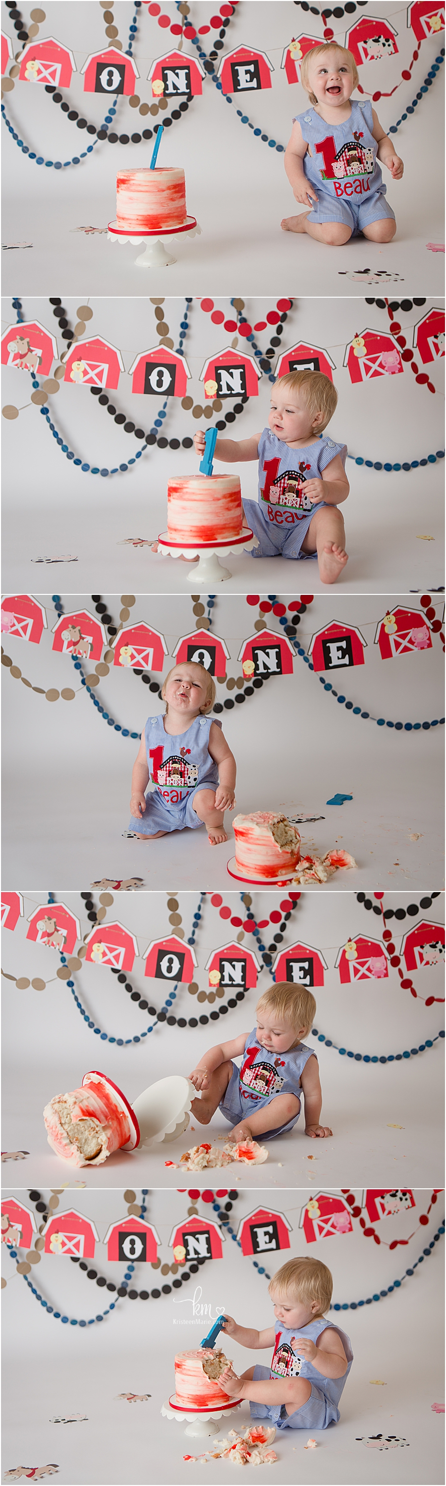 farmhouse first birthday cake smash