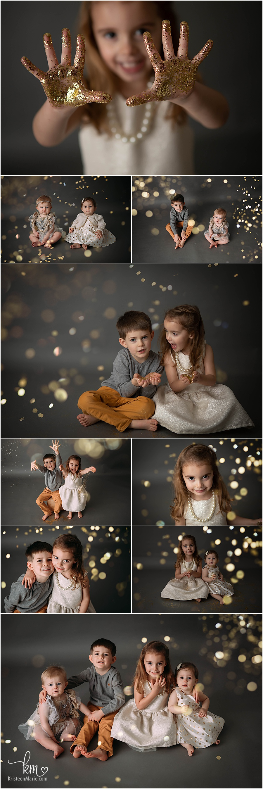 pictures with glitter in photography studio - New Year Themed