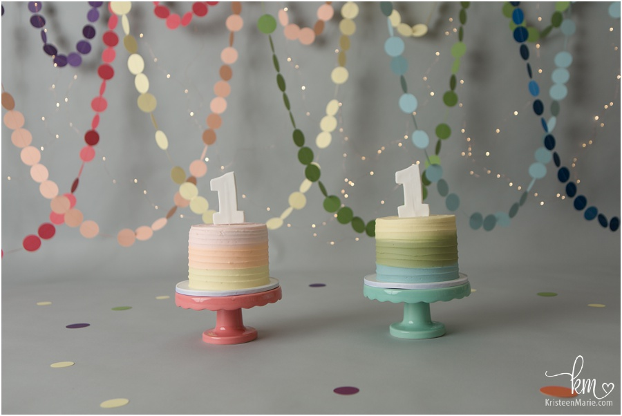 Twins ranibow cakes for 1st birthday