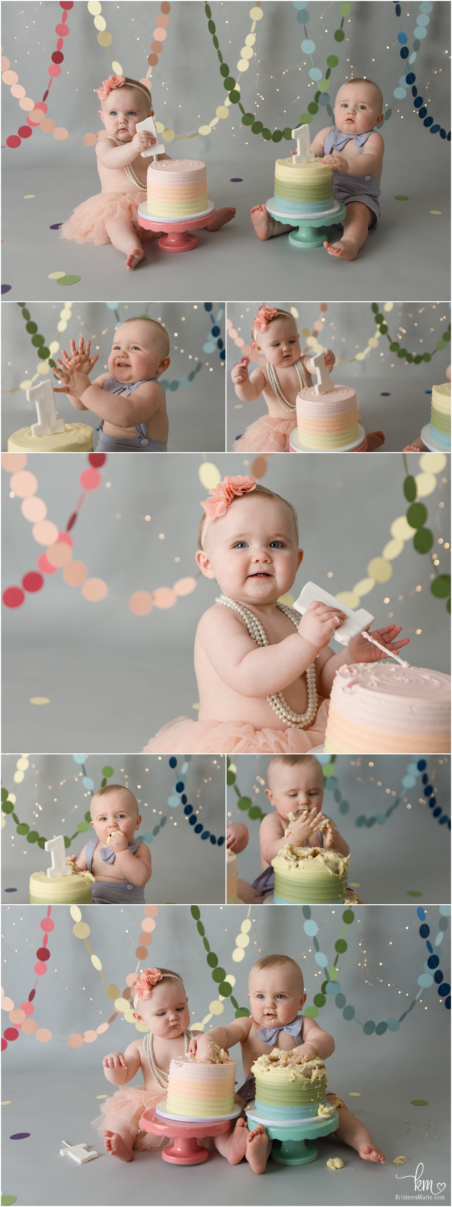 Rainbow themed 1st birthday cake smash session for twins