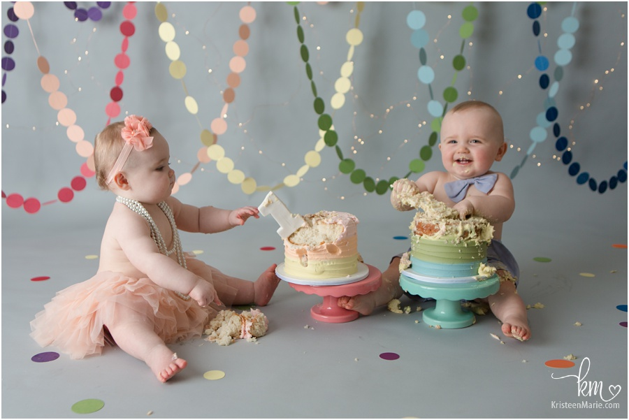 twin boy and girl 1st birthday cake smash session