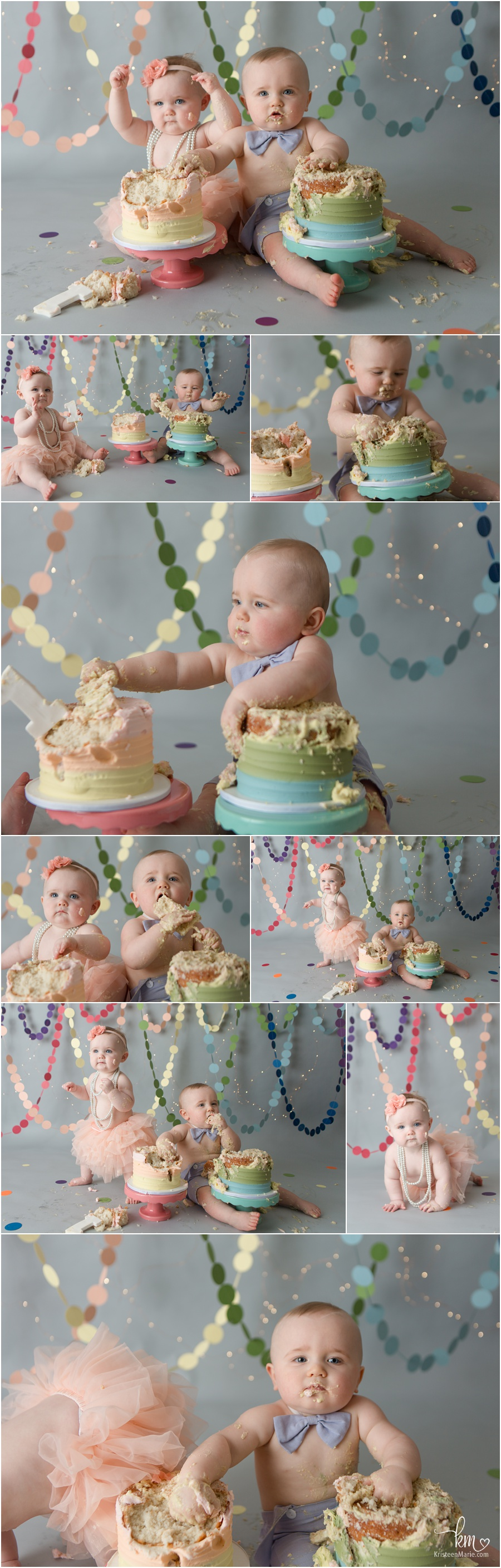 twin boy and girl 1st birthday cake smash photography rainbow themed