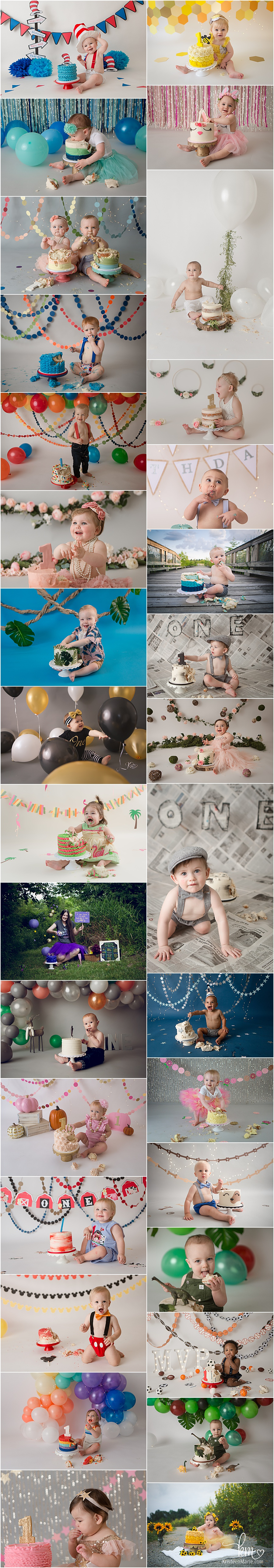 1st birthday cake smash photography in Indianapolis by KristeenMarie Photography