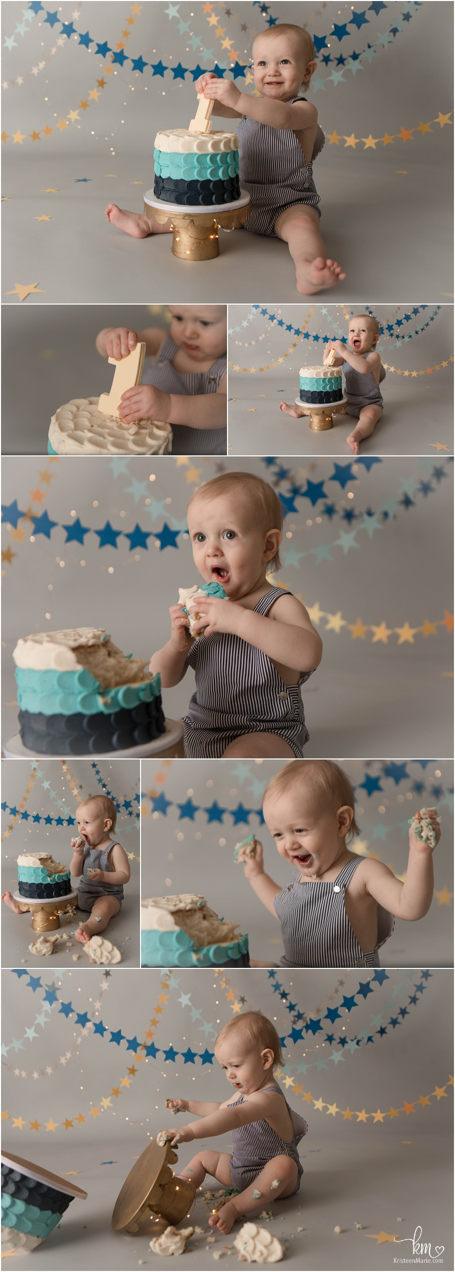 starts and sprakel cake smash for 1st birthday