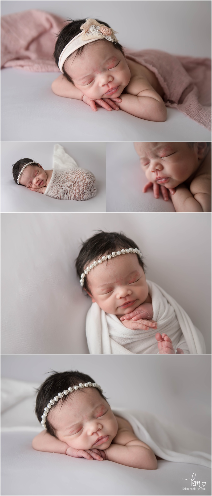 sleeping baby girl in white and blush - newborn photography