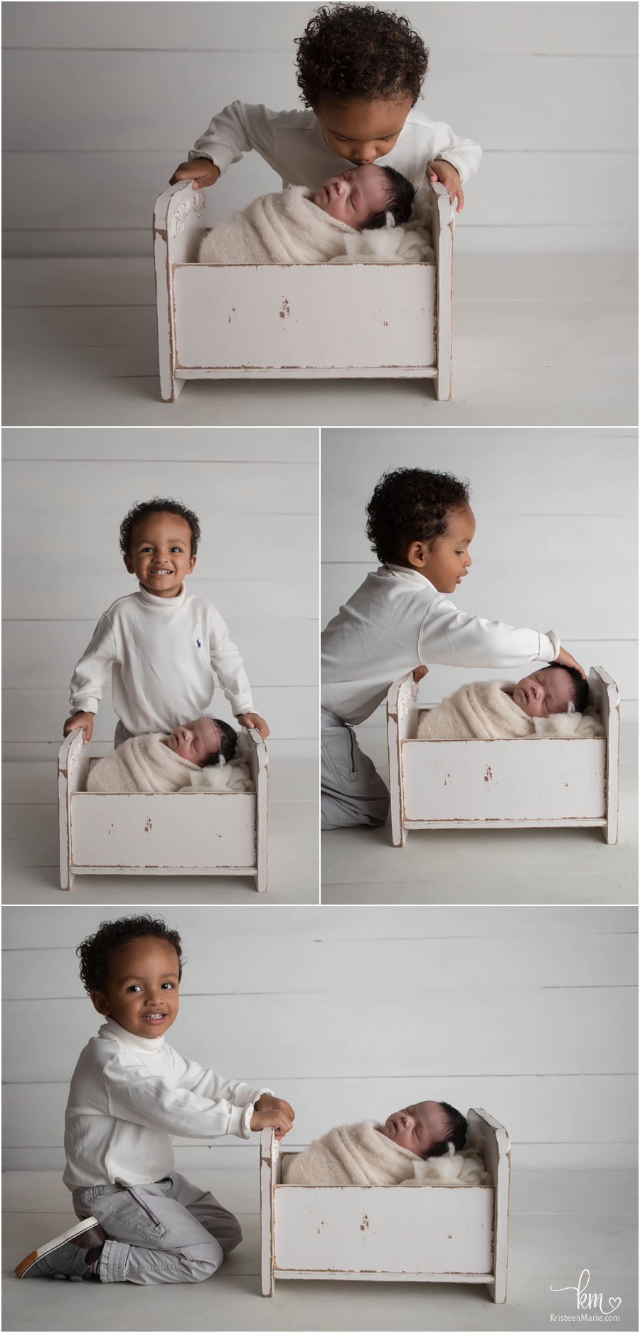 sibling poses - big brother and baby sister in crib