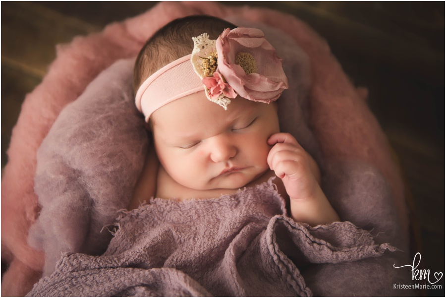 pink and purple newborn picture