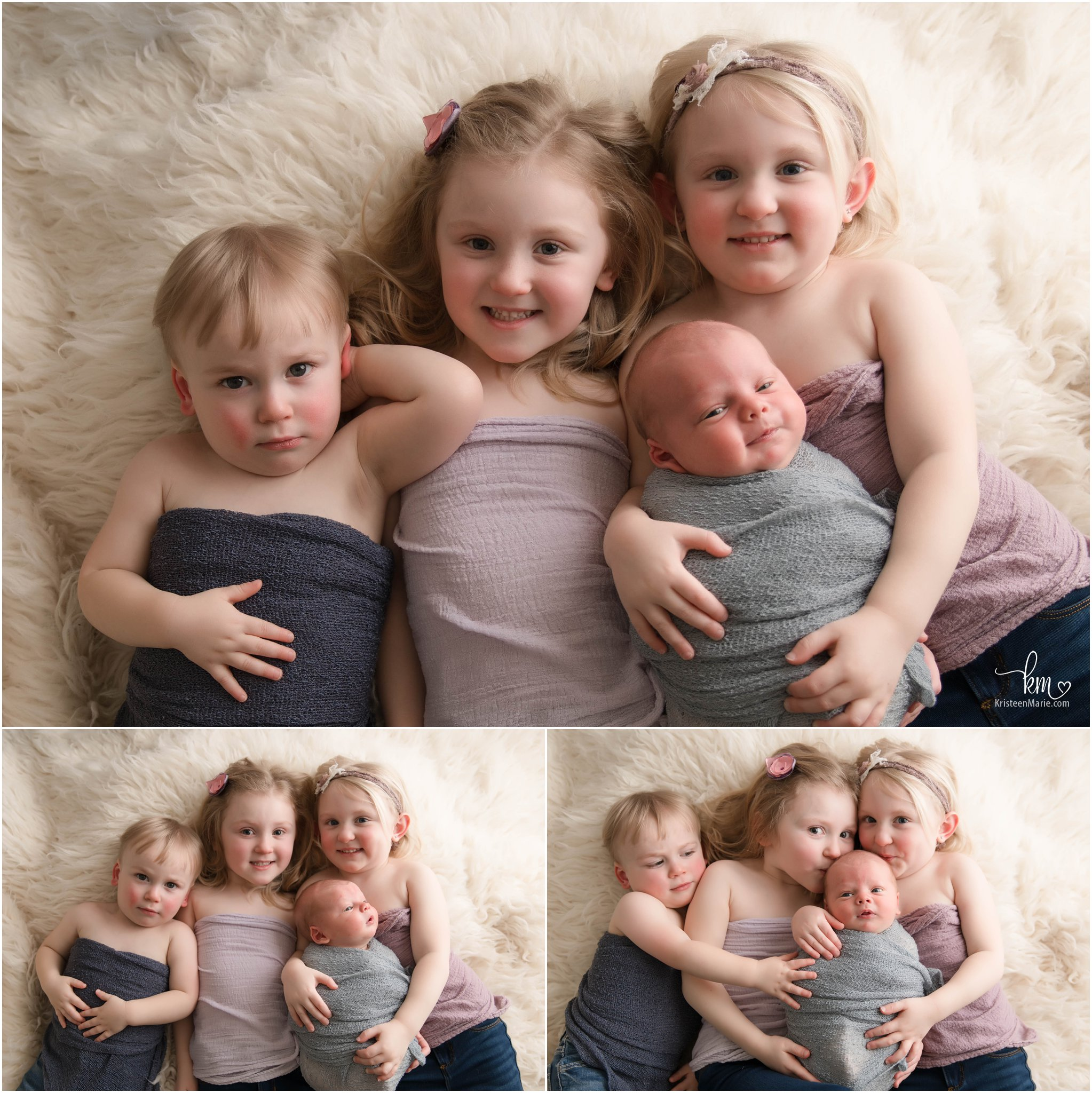 4 kids with newborn baby - 4 kids newborn photography