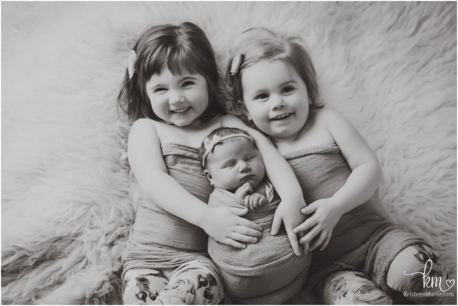 black and white sibling image