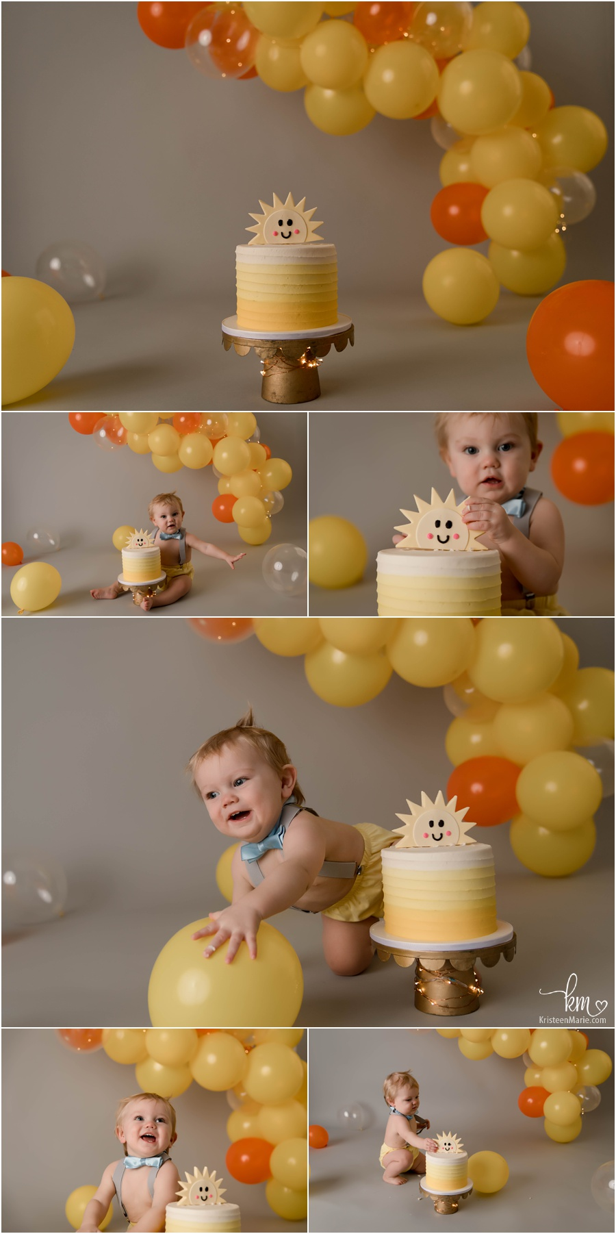 You are my sunshine 1st birthday cake smash session for boy