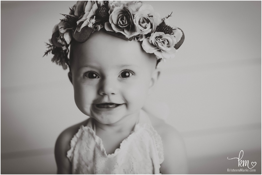 baby portrait in black and white with flower crown